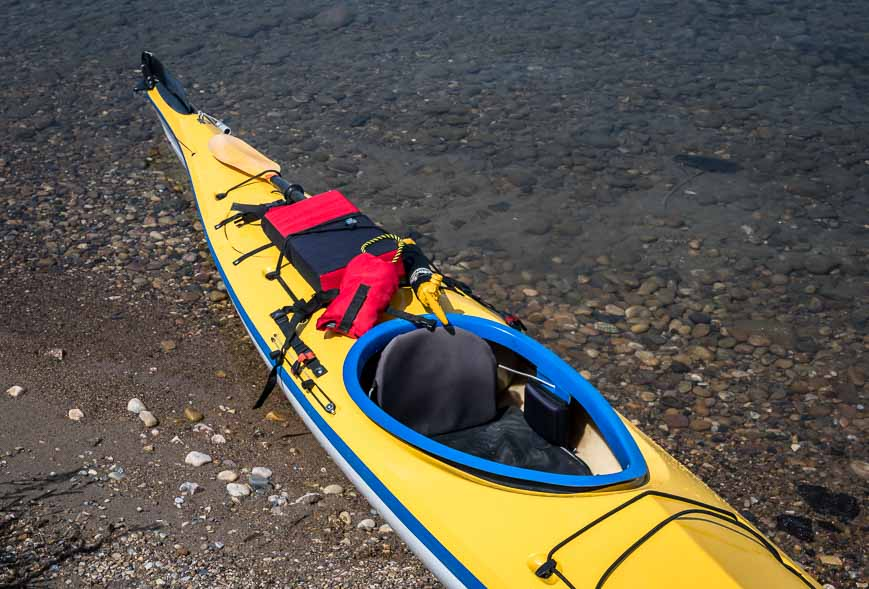 A sampling of our kayaking gear - throw rope, paddle float, spare paddle, pump