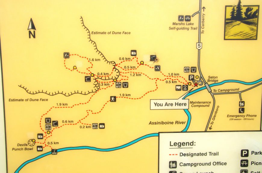 Map of the hiking trails in Spruce Woods Provincial Park