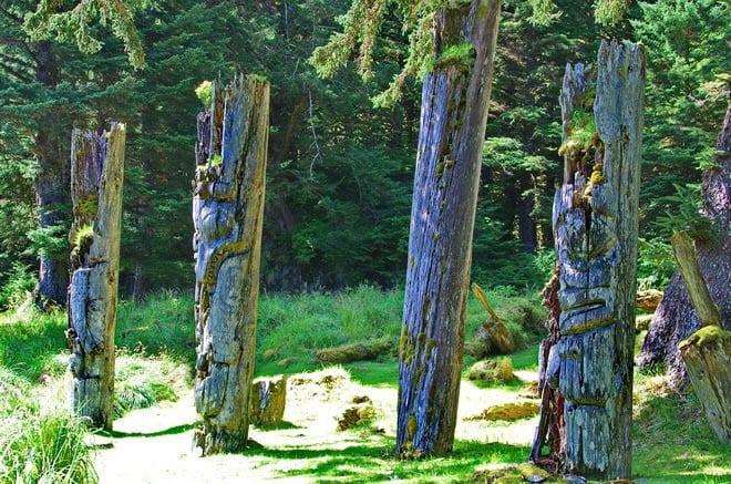 """Memorial poles in the village of Ninstints"""