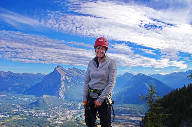"""the summit of the Via ferrata at Mount Norquay"""