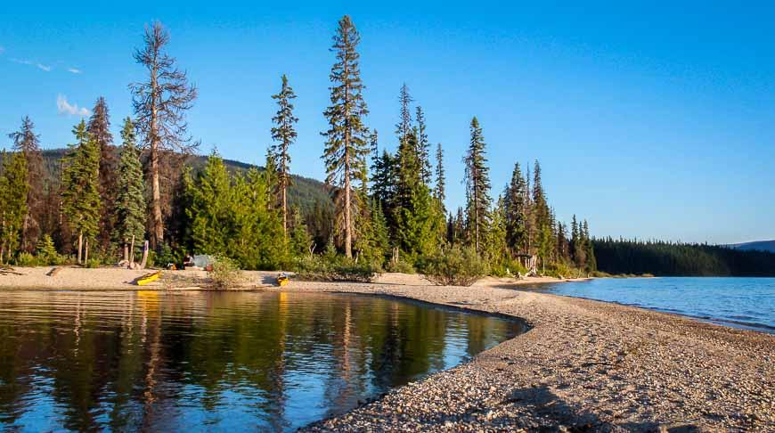 Fantastic beach camping beside Murtle Lake, Wells Gray Provincial Park, BC