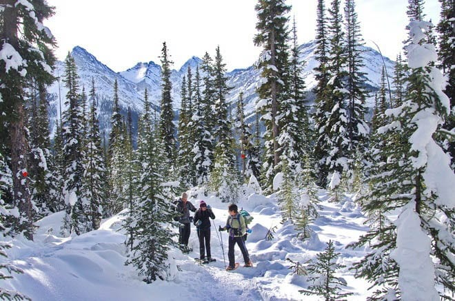Snowshoeing to Chester Lake in Kananaskis Country