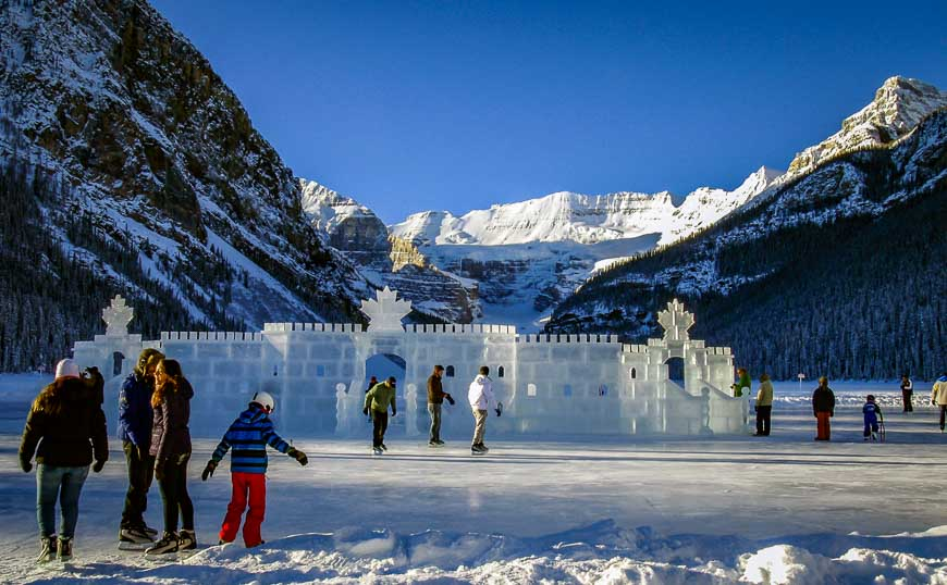 Skate around the ice castle at Lake Louise