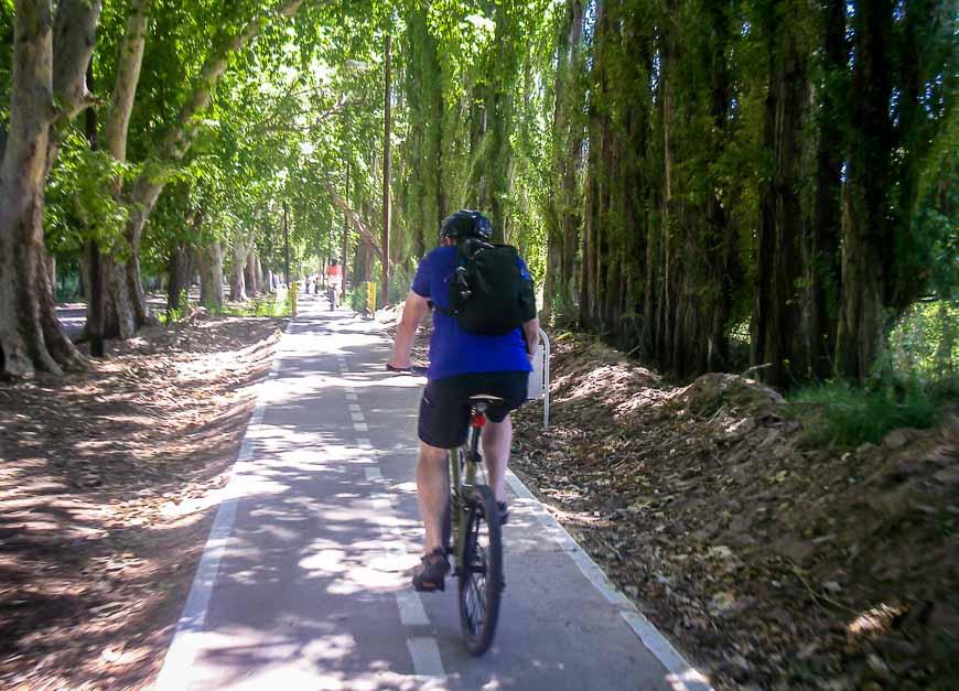 Biking on flat, easy trails