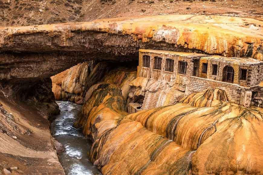 Things to do in Mendoza include seeing Puente del Inca