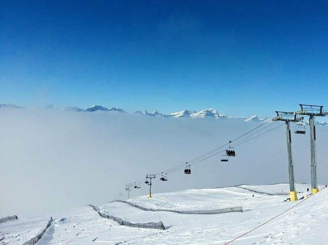 Weird fog part way down the mountain at Sunshine Village