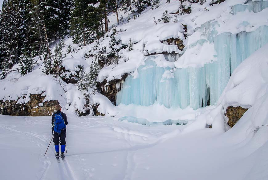 Massive frozen waterfalls can be seen along Boom Lake