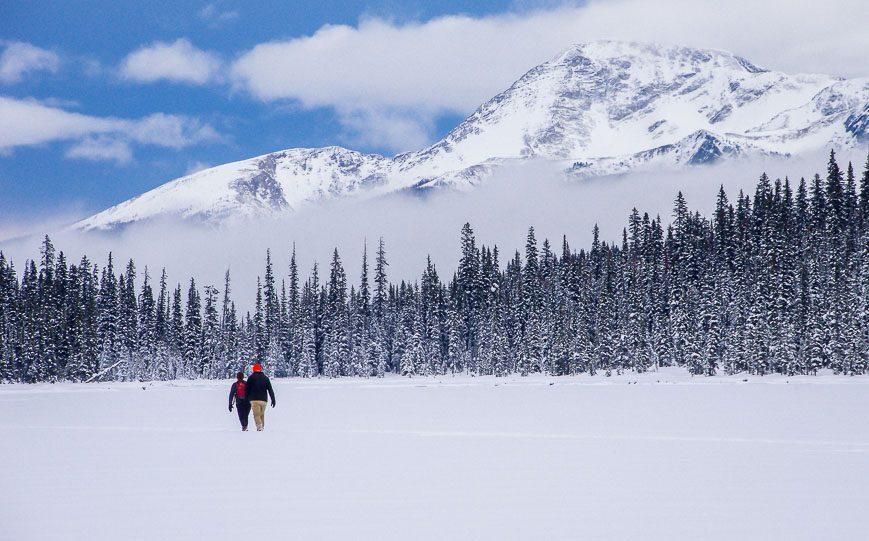 Snowshoeing on Boom Lake