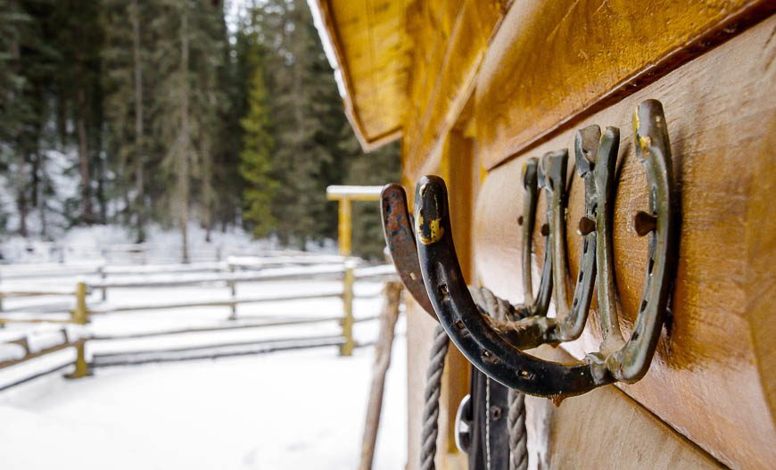 Horseshoes are used extensively throughout the lodge and around the stable