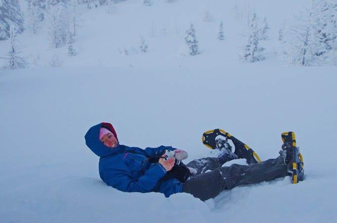 Sunshine Village snowshoeing and a fallen snowshoer