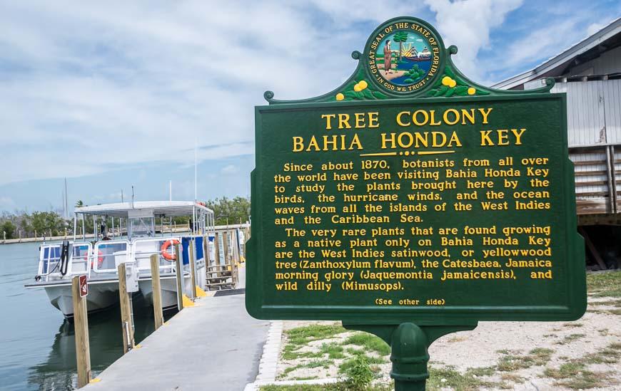 Information sign in Bahia Honda State Park