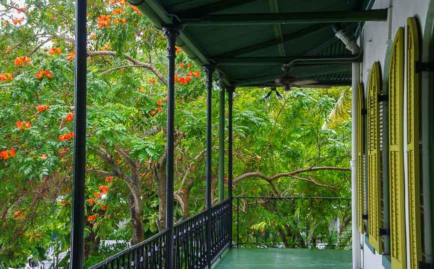 Lush gardens surround Hemingway's house in Key West