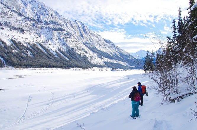 Snowshoeing alongside Medicine Lake