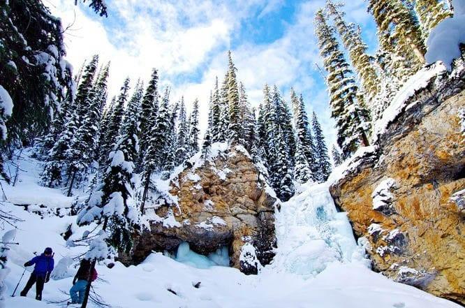 The frozen waterfalls in Watchtower Canyon, Jasper National Park