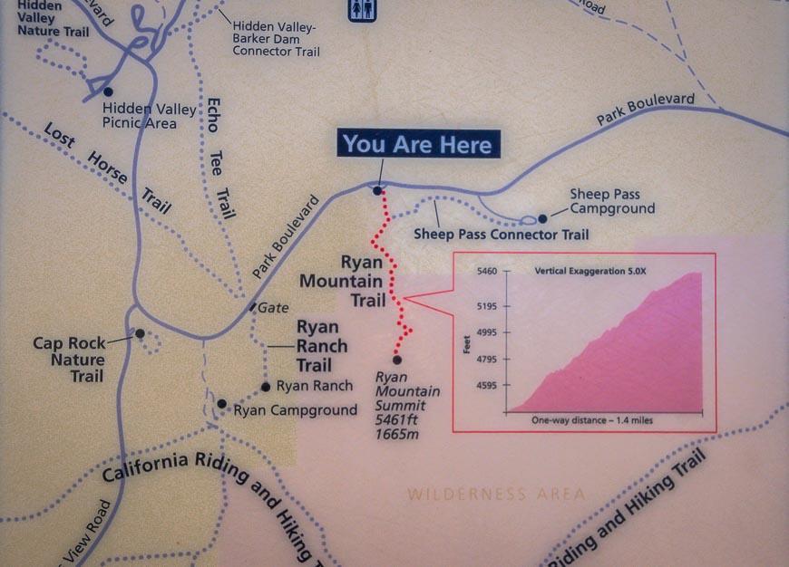 Map of the Ryan Mountain hike