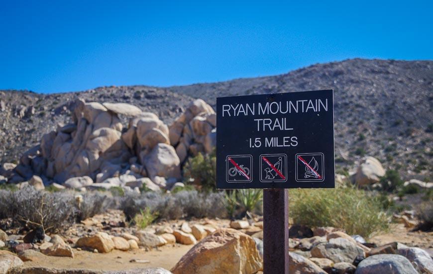 The Ryan Mountain Trailhead