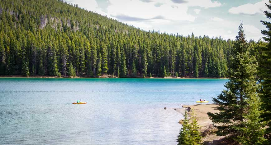 Kayakers out on Two Jack Lake