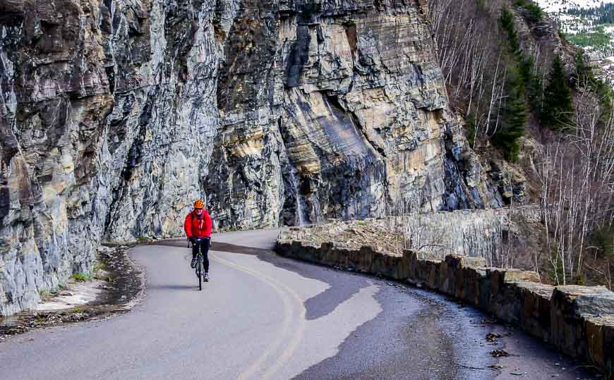 I'd much rather be biking Going to the Sun Road than driving - notice how narrow it is