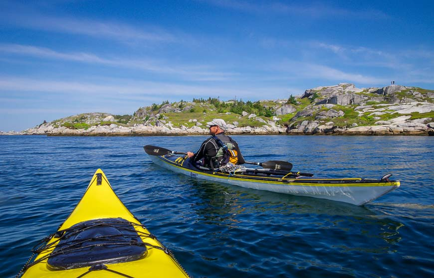 Kayaking Peggys Cove takes you past a rocky landscape