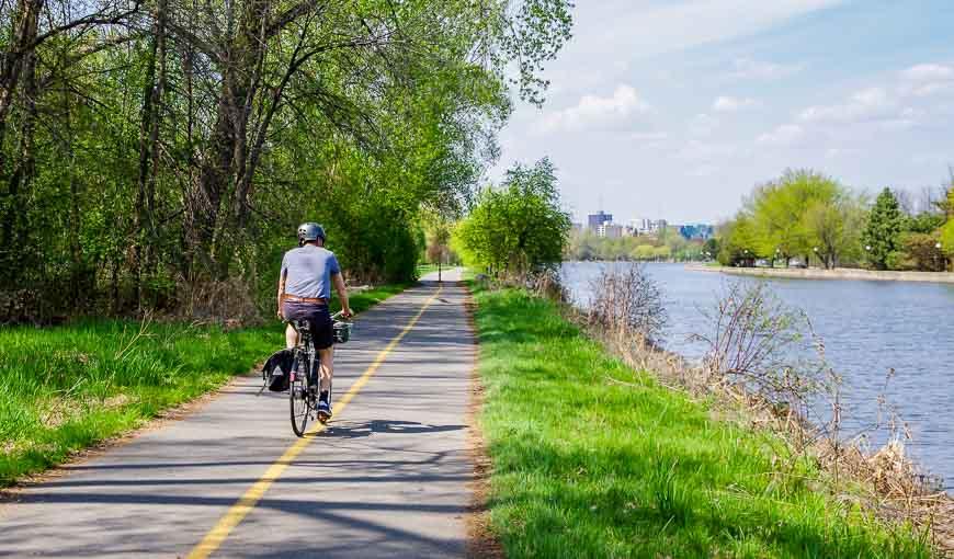 Biking in Ottawa beside the canal