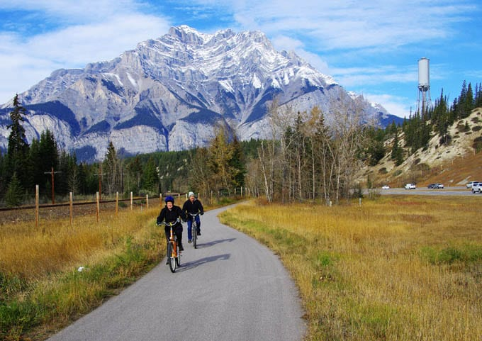 Cycling the Legacy Trail between Banff and Canmore