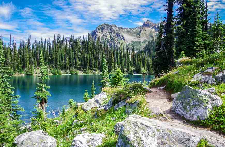 The fabulous Eva Lake hike is a great stop when driving Vancouver to Calgary