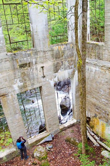 Inside the Thomas Carbide Willson Ruins in Gatineau Park, Quebec