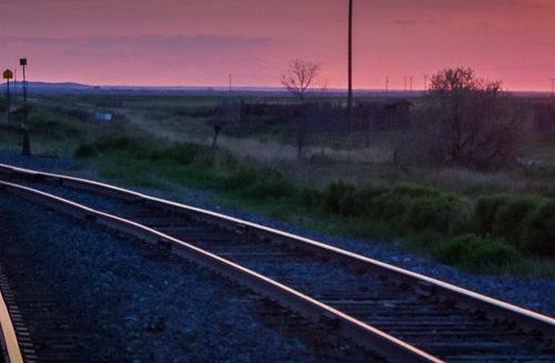 Sunset over the railway tracks in Maple Creek, Saskatchewan