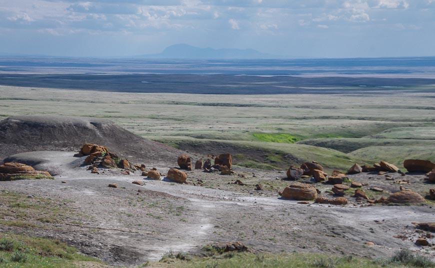 Boulders strewn across a prairie landscape