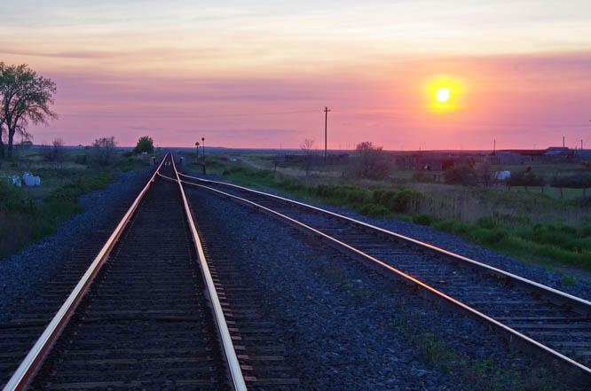 Sunset over the train tracks in Maple Creek, Saskatchewan