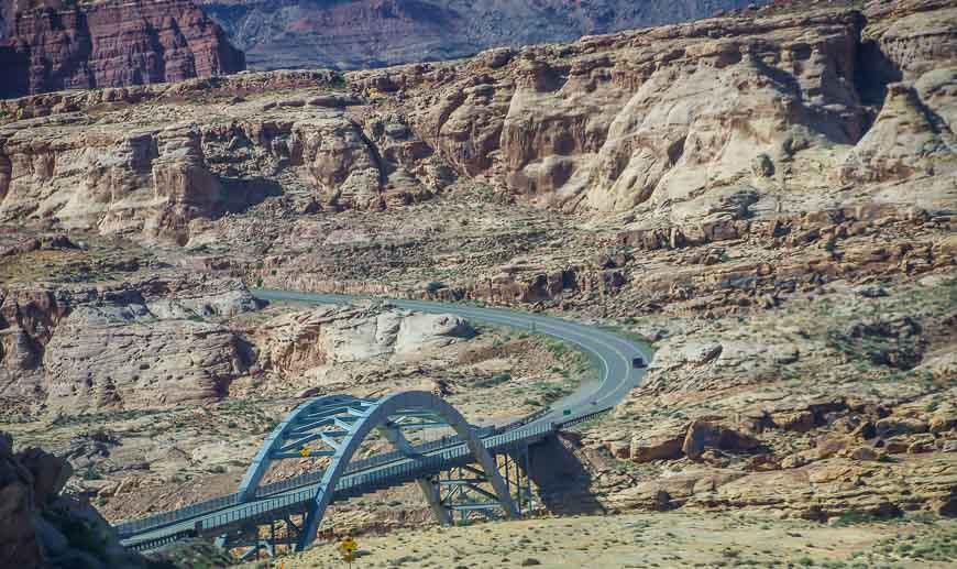 Heading for the bridge across the Colorado River