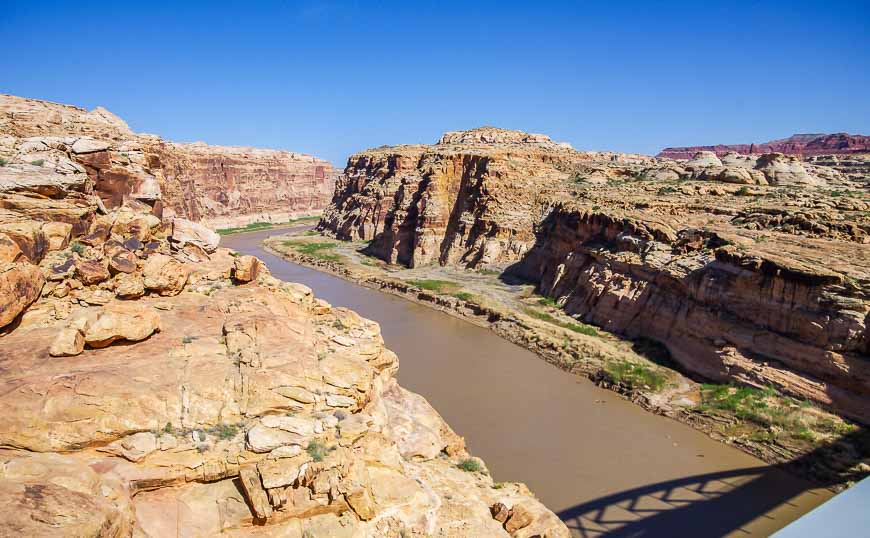 Looking up the Colorado River from the bridge on Highway 95