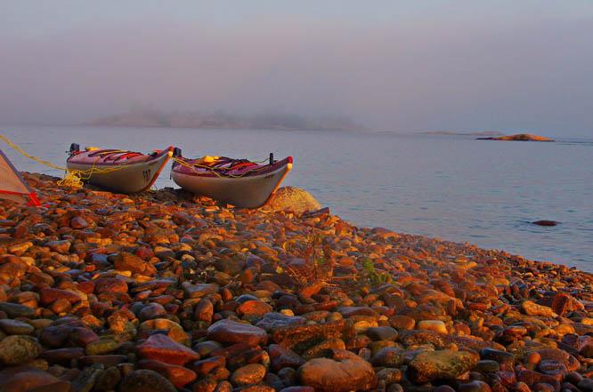 First light on our kayaks - Fox Islands, Georgian Bay
