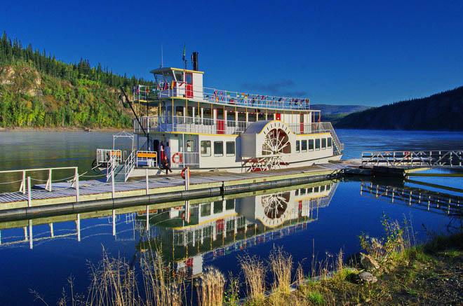 Paddle wheeler on the Yukon River docked in Dawson City