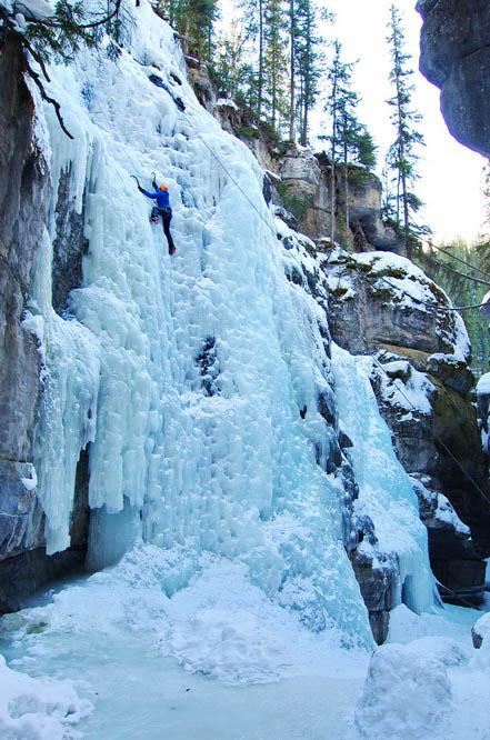 Ice-climbing in Maligne Canyon, Jasper National Park
