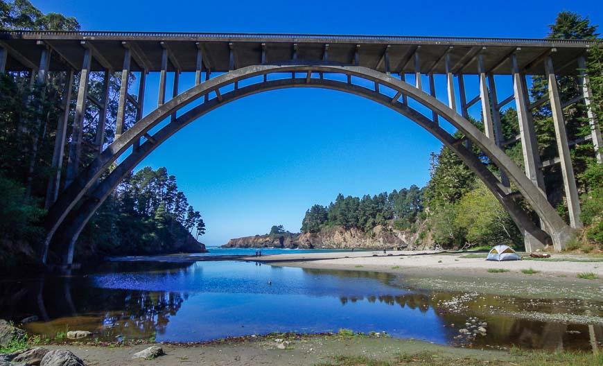The Russian Gulch Bridge Near Mendocino The Russian Gulch Bridge – The South Headlands Trail Goes Under It At Road Level