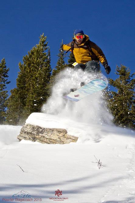 Cat snowboarding at Castle Mountain Resort