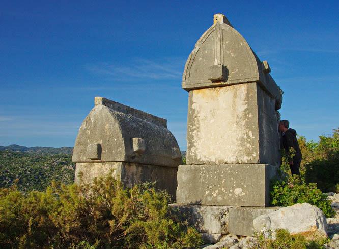Hilltop tombs in Kekova, Turkey