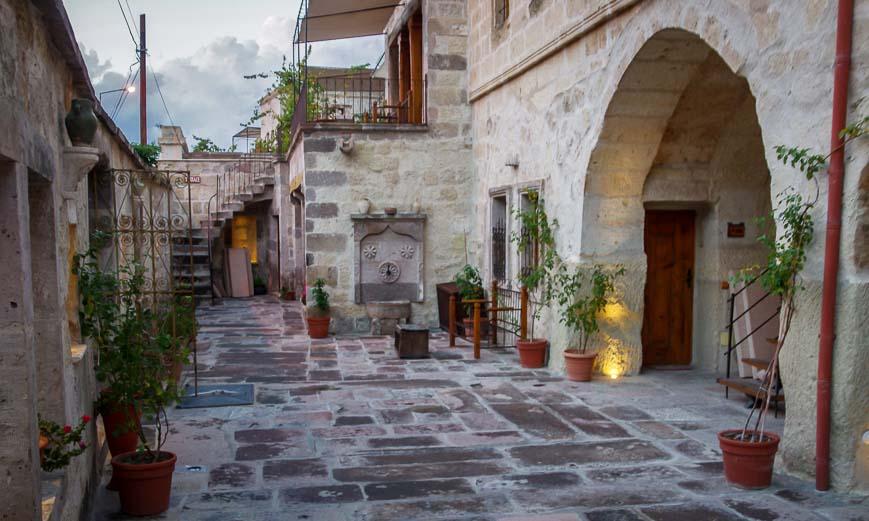 Many hotel rooms and suites are off this courtyard