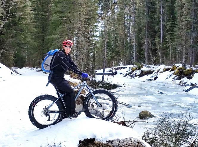 Fat tire biking along Ribbon Creek