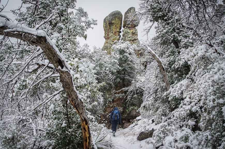 Hiking beneath rock sentinels