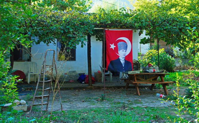 House draped in the Turkish flag