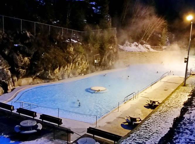 Radium Hot Springs in the evening