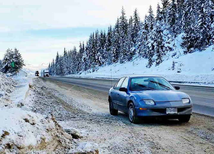 A Dead Car At The Side Of The Trans-Canada Highway Near Golden
