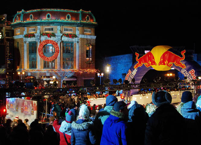 A very well mannered crowd at the Crashed Ice race in Quebec City in November 2015