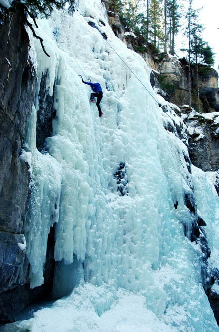 Ice climbing in Maligne Canyon, Jasper National Park
