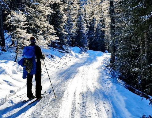 Skiing into Sundance Lodge
