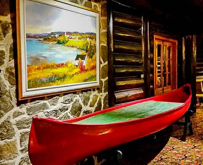 Full size canoe on the second floor
