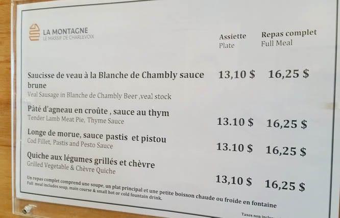 Not your average menu at a ski resort