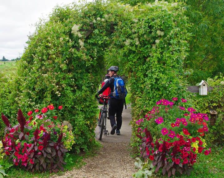 The flower filled entrance to Ellis Bird Farm